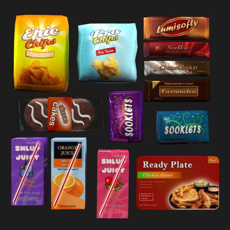snacks chips chocolate 3d obj