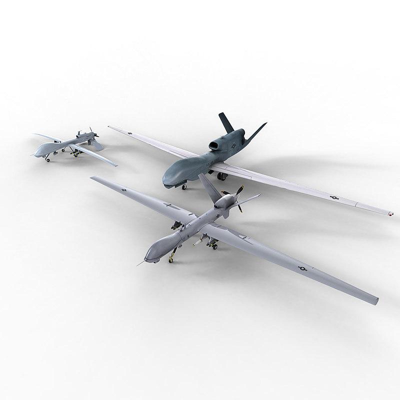 uavs grey eagle 3d model