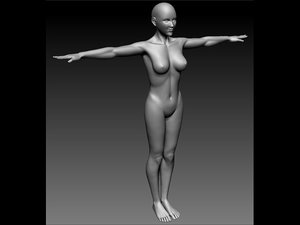 female adult body 3d obj