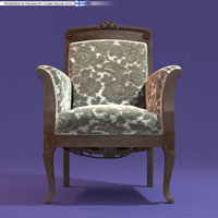 3d rococo armchair classic chair
