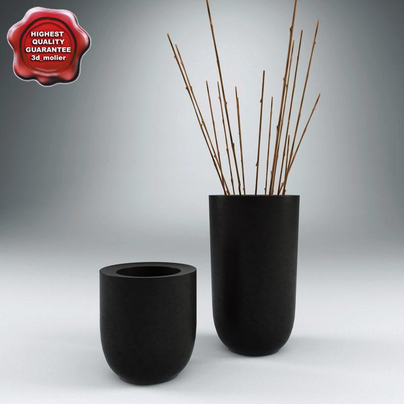 3d model blackened planters