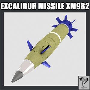 excalibur missile xm 982 3d model