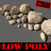Rocks - Stones 12 Low Poly Smooth RS56 - Dirty Tan 3D rocks or Stones