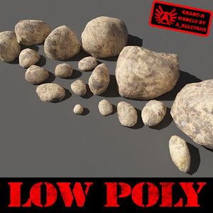 stones - boulders pebbles 3d max