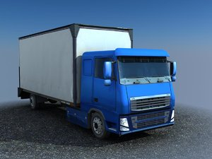 blue cargo truck 3d model