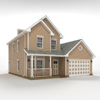 two-story house siding 3d max