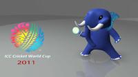 3d model mascot cricket world cup