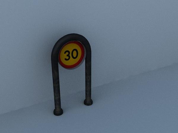 3d model of 30km h sign swedish