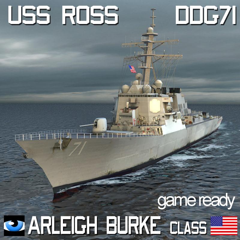 uss arleigh burke class 3d model