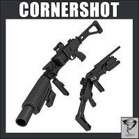 corner shot gun 3d c4d