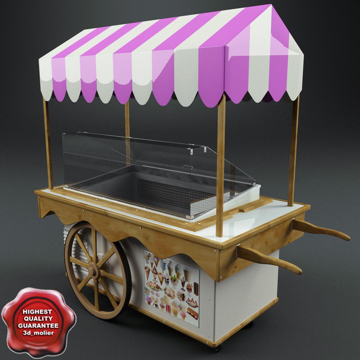 3d ice cream cart