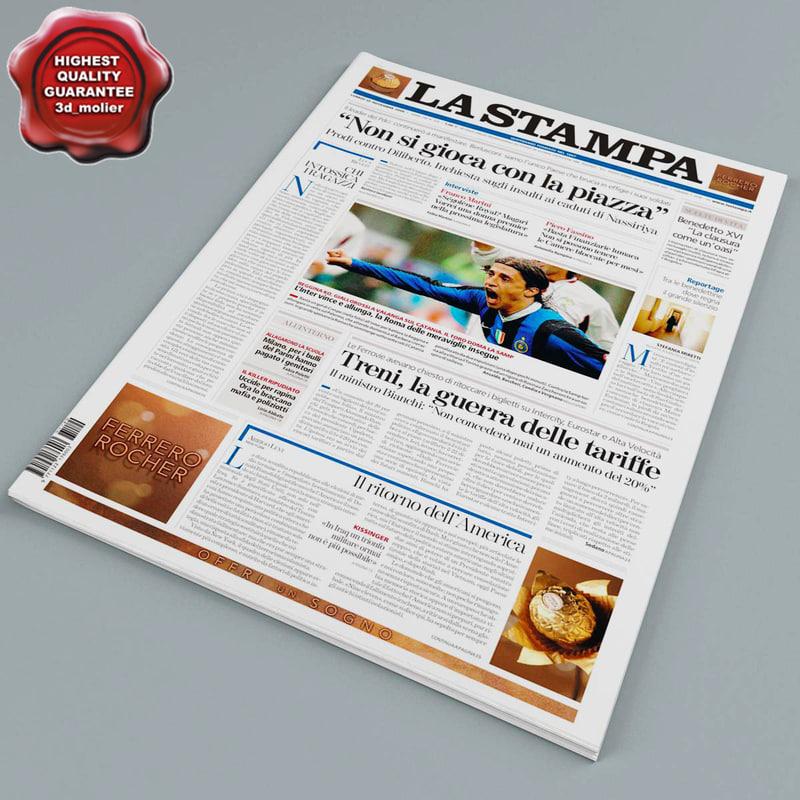 newspaper modelled obj