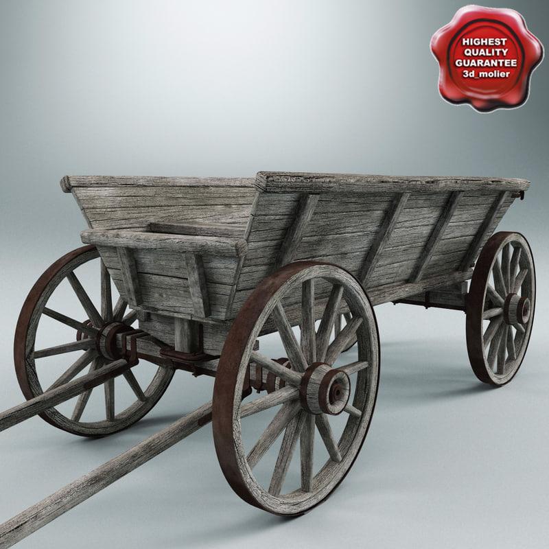 old wooden cart v1 3d model