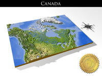 Canada, High resolution 3D relief maps