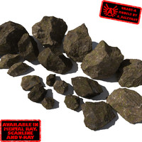 Rocks - Stones 10 Jagged RM11 - Mossy Dirty 3D Rocks or Stones