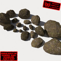 Rocks - Stones 10 Smooth RM11 - Mossy Dirty 3D Rocks or Stones