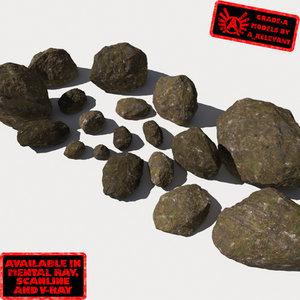 3d smooth rocks stones - model