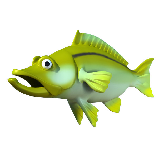 3d model cartoon fish snook