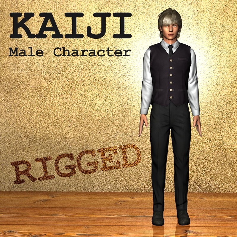 kaiji male character human 3d model