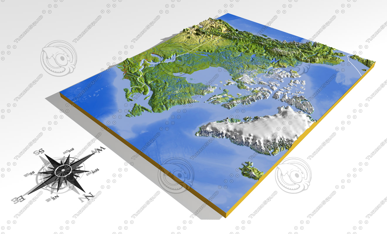 Canada D Model - Relief map of canada