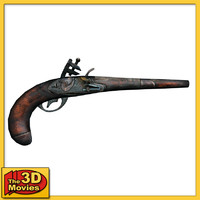 3d old pirate pistol