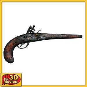 3d old pirate pistol