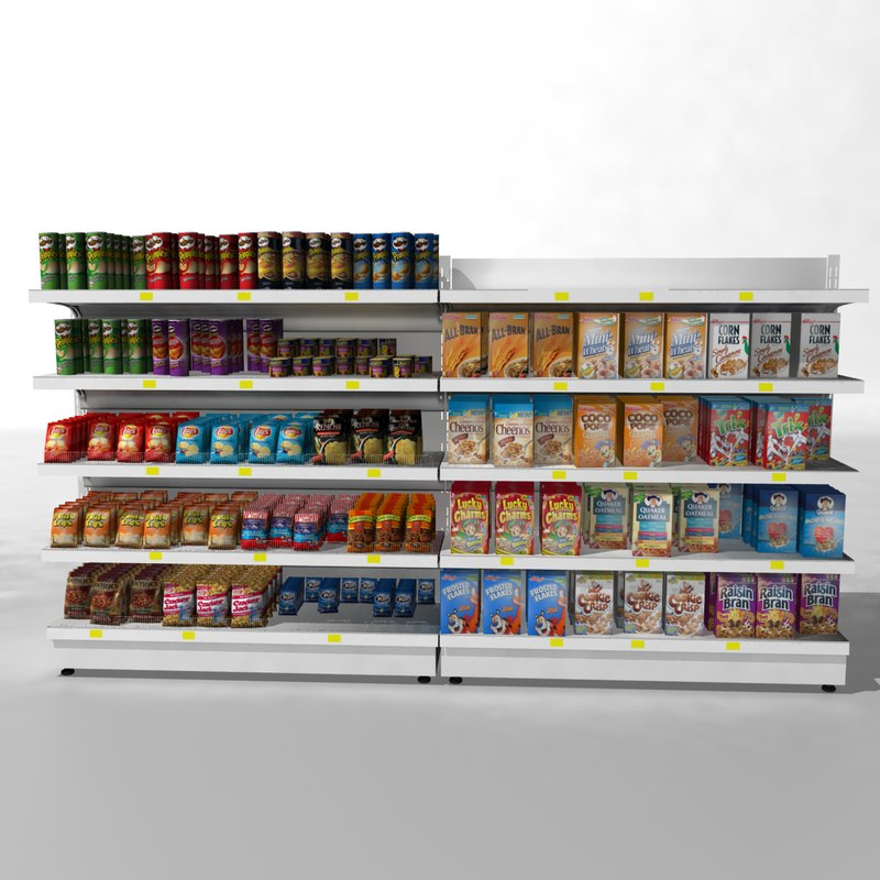 3d model supermarket shelves for Food bar 3d model