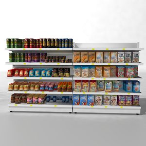 3d model supermarket shelves