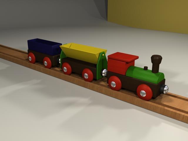 3d toy train wood