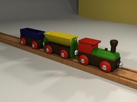 3d toy train wood