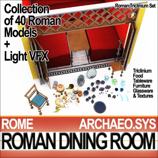 ancient roman dining room 3d model
