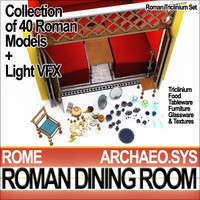 Ancient Roman Dining Room Set A [40 Models+5 Candle VFX]