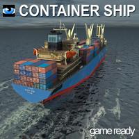 3d cargo container ship model