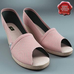 3d model of female shoes toms