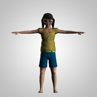 3d model girl rigged