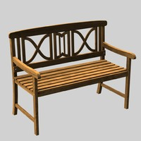 3d wooden garden bench model