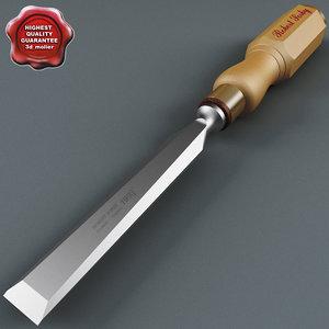 3d model wood chisel
