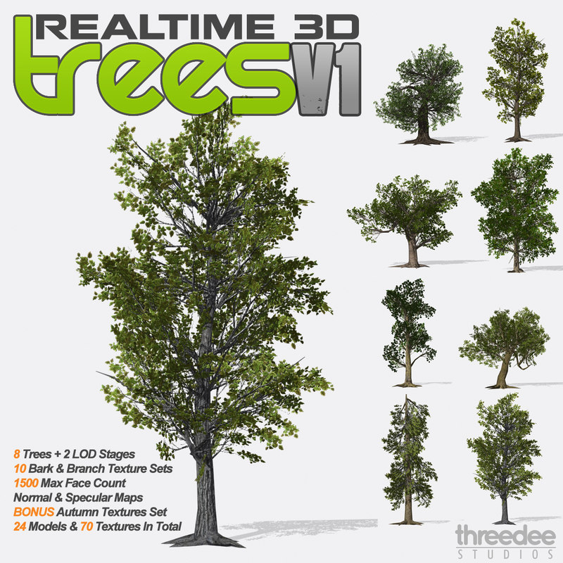 3d model realtime trees v1 -