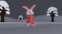 3d model bunny character cloth