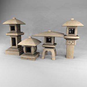 japanese lanterns pedestal 4 obj