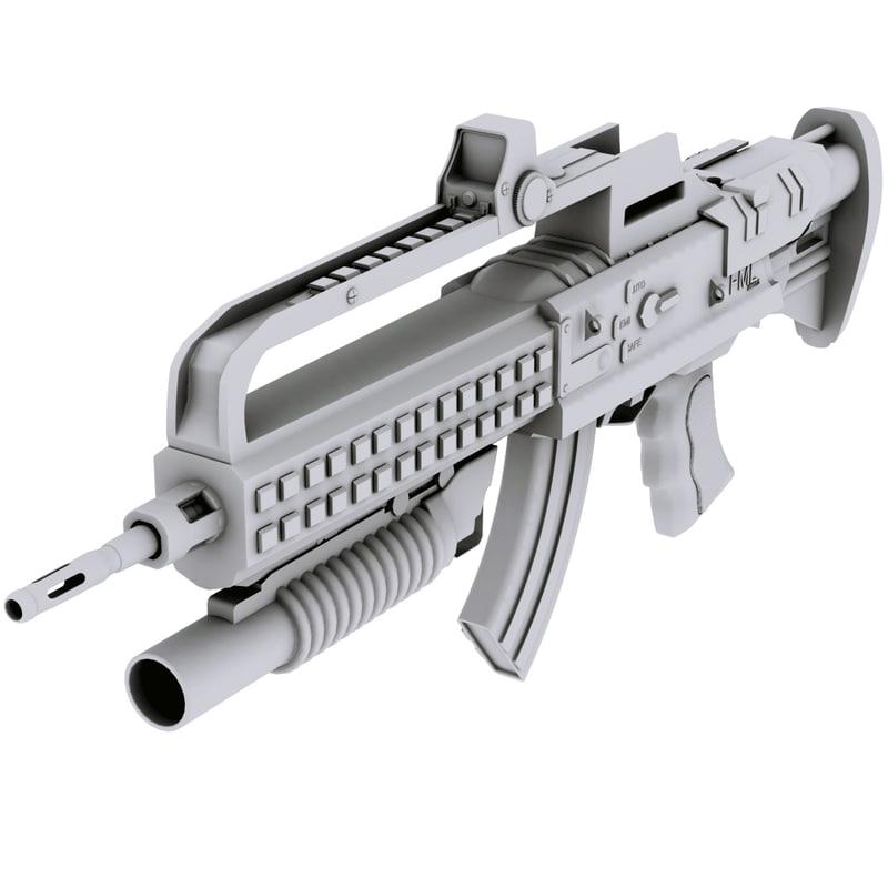 assault rifle fml attachments 3d model