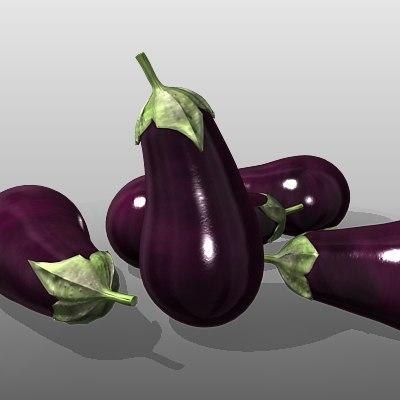 3d aubergine eggplant