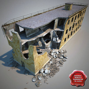 destroyed house 3d max