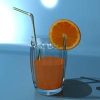 3d model orange juice glass