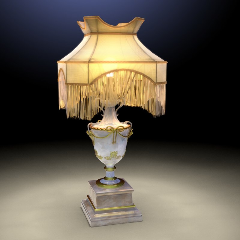 antique table lamp 3d model