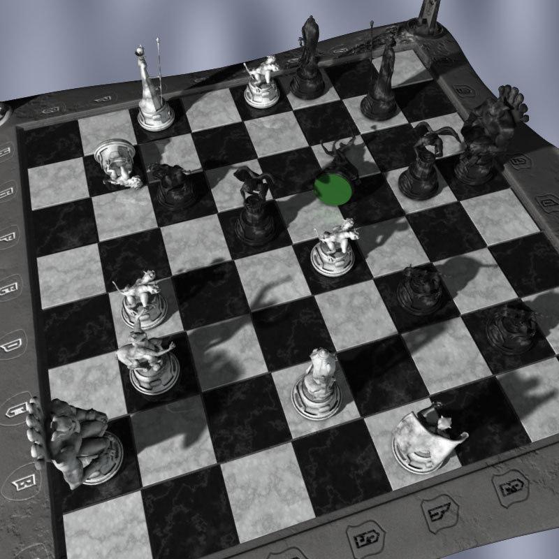 chessboard gargoyles board 3d model