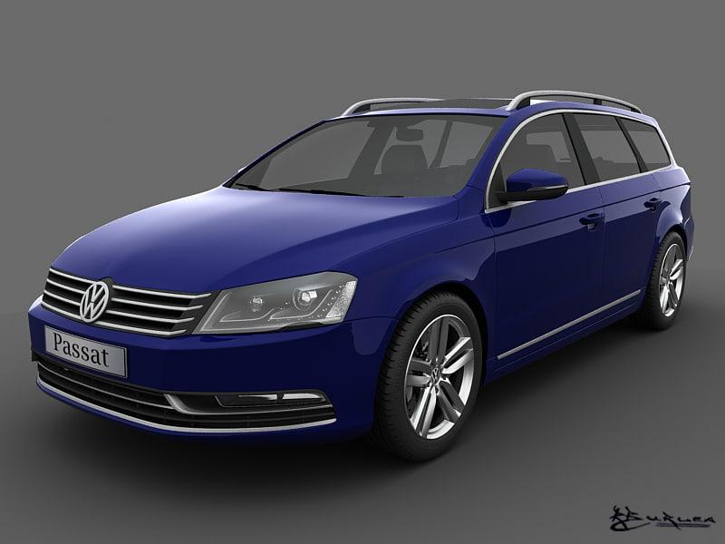volkswagen passat estate 2011 3d model
