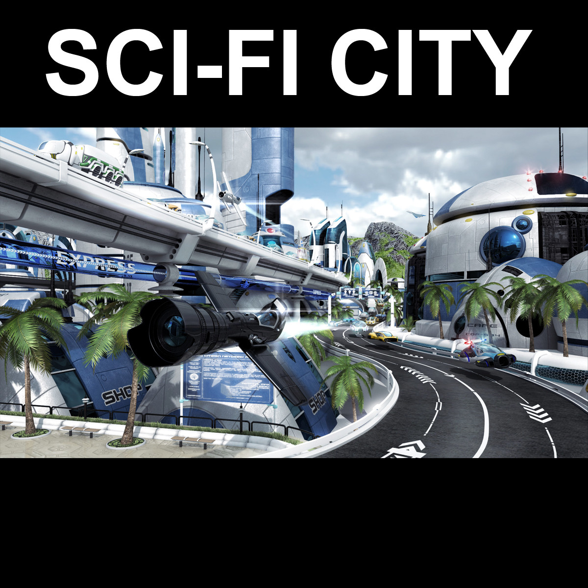 3d sci fi city buildings