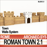 Roman Town Gate & Walls System A 2.1 Low Poly