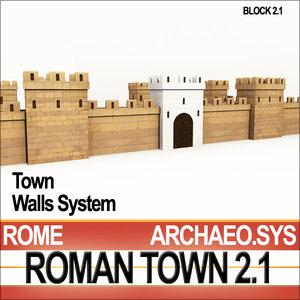 ancient roman town walls 3ds